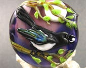 NEW Lampwork Magpie Cameo Focal Bead by Kerribeads