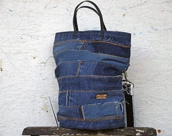 Recycled Jeans Bag - Jeans Shoulder Bag - Jeans Handbag - Blue Jeans Purse - 1 Long Leopard Strap - 2 Short Leather Straps - 1 Jeans Pocket