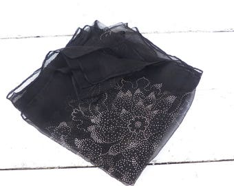 Vintage Antique 1900s French countryside black chiffon  square scarf with polka dots printed