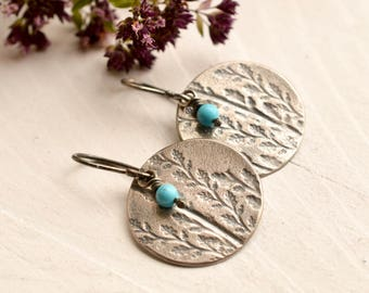 Relic Earrings- - Modern Rustic Silver Earrings, Turquoise Earrings, Botanical Earrings, Unique Silver Earrings, Everyday Wear, Light Weight