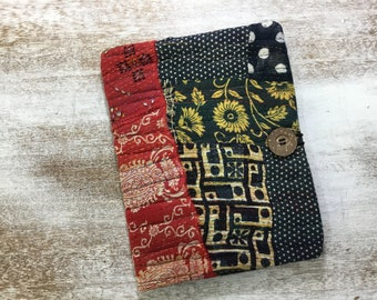 COMPOSITION Notebook Book Cover - Fabric Collage - Kantha quilt