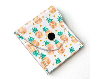 Vinyl Coin Purse - Tropical Summer2 / wallet, vegan, change, snap, small, little, pocket wallet, gift, pineapple, pink, summer, fruit, beach
