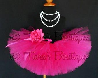 "SUMMER SALE 20% OFF Girls Tutu Skirt - Hot Pink Tutu - Birthday Tutu - Fabulous Fuchsia - Custom Sewn 8"" Tutu - sizes Newborn to 5T"
