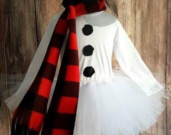 Snowman tutu set, girls babies snowman tutu costume, long sleeved shirt, less full tutu with red buffalo plaid scarf and black mini top hat