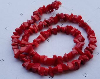 red coral chips full strand 16 inch