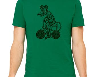 Rat Race Hand Carved   Woodblock Printed T Shirt
