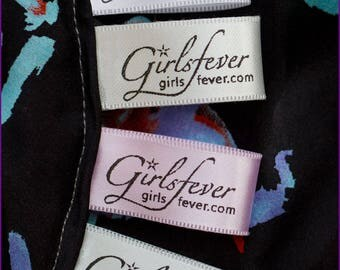 17mm Personalized satin labels fabric labels with 5 choices of colors 100 pcs