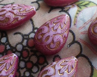 SALE 30% Off Lily Pink Distressed Gilded Engraved Plastic Pear Beads 19x13mm 6 Pcs