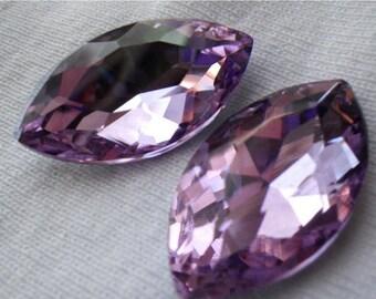 SALE 30% Off Lavender Purple 32x17mm Navette Crystal Gems Foiled 2 Pcs