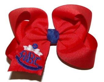 Monogrammed Anchor Bow with Headband Option -Nautical Monogram Bow - Custom Monogrammed Bow - Your Choice of Colors