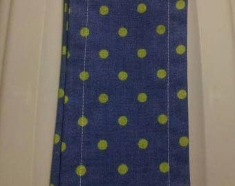 36 inch scroll rod covers by Trulyn2stitching Designs,  blue w/ sage dots