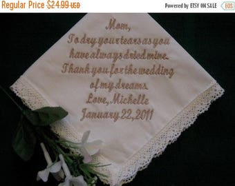 ON SALE 30 words of your choice Bridal Ivory Wedding Handkerchief with gift box 9S Personalized Wedding Handkerchief
