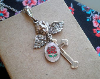 Vintage Silver Angel Cross & Enamel Red Rose Charm Necklace - Religious Catholic Icon Charms, Retro Angel Floral Jewelry Prayer Pendant Gift