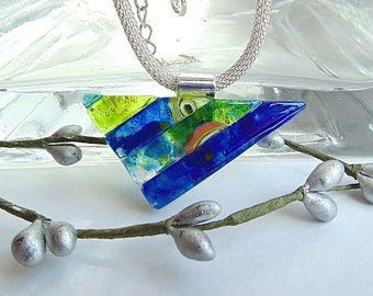 Blue Necklace, Green, Dichroic Glass Pendant, Fused Glass Jewelry, One of a Kind, Murrini, Necklace Included, A12