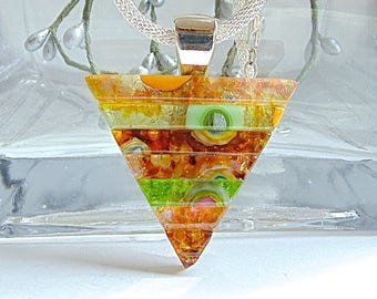 Orange Necklace, Green, Large, Dichroic Glass Pendant, Fused Glass Jewelry, One of a Kind, Murrini, Necklace Included, A2