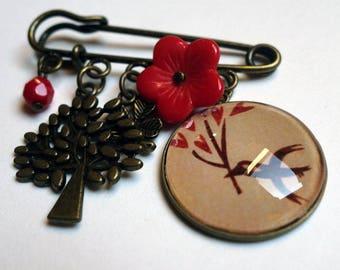 Charms, heart B079B bird brooch