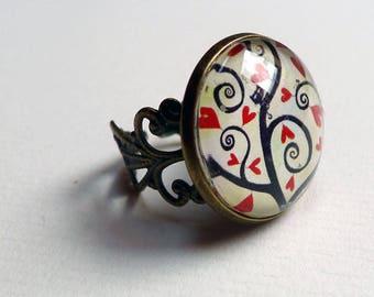 Vintage, small tree of hearts BAV145 ring