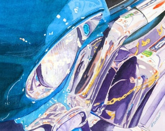 Vintage Car Chrome reflections colorful Giclee Reproduction 9 x 12