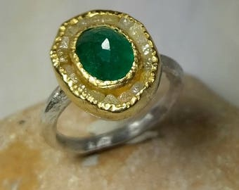Emerald and Raw Diamond ring,   multi stone Ring, 22 kt gold and emerald diamond ring, OOAK, statement ring