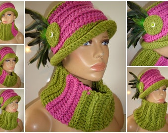 Pink and Green Hat with Feathers and matching scarf -Pink and Green Crochet Hat - AKA Hat Set - Crochet Cap - Custom colors available