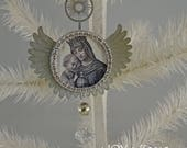 CHRISTMAS MADONNA - metal angel wings ornament - NO079