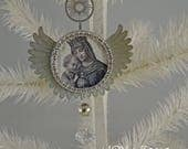 CHRISTMAS MADONNA - metal angel wings ornament - NO079