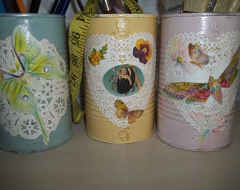 Upcycled Tin Cans, Shabby French Painted Tin Can Pencil Holder, Tin Can Vase, Set of 3