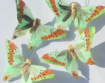 Butterfly Hair Clips Green Orange feather butterfly Green Orange Butterflies Hair Ornament hand made hair clips by Ziporgiabella