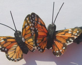 Butterfly Hair Clips Butterfly Accessory 2 small Orange Monarch feather butterfly hand made hair clip Butterfly Accessory