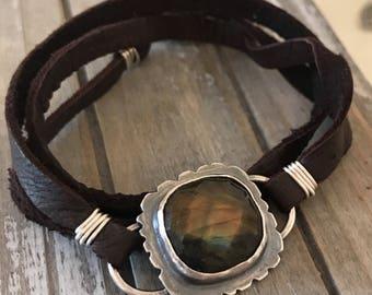 Labradorite Sterling Silver Leather Wrap Bracelet