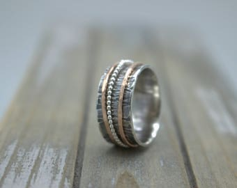 Rose Gold Sterling Spinner Ring - Fiddle Ring - Meditation Ring  SR125