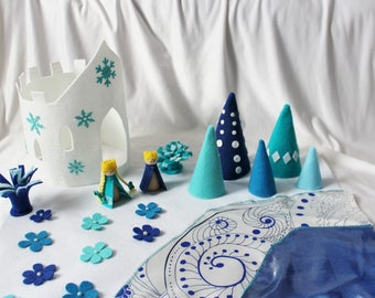 Ice Castle Play Mat - Winter Play Mat - Travel Play Mat - Roll Up Play Mat - Complete Set - Ready to ship