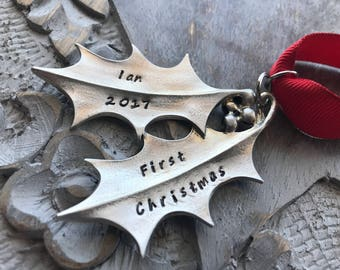 Last One!!  Plain or Personalized Fine Pewter Holly Leaf Ornament