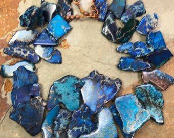 Big Bold Chunky Navy Blue Jasper Statement Necklace