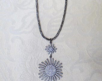 Crystal Beaded Necklace with Double Starburst Pendant