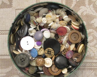 Vintage Buttons In A Vintage Tin - Two Pounds of Buttons For Sewing/ Crafting