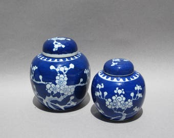 Vintage Blue & White Ginger Jars Pair Japanese Cherry Blossom Prunus Pattern Large and Medium Lidded Ginger Jars Asian Decor