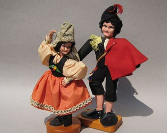 1950s Vintage Hand Carved Wood Dolls by Paquita Stevens Spanish Senorita & Senor Rare Pair of Artisan Dolls Folk Art Doll