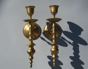 Solid Brass Sconces Wall Mount Candle Sconce Vintage Brass Candle Holder Pair Traditional Decor