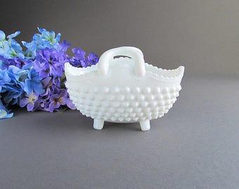 Vintage Milk Glass Hobnail Basket, Wedding Table Decoration, Flower Basket, Wedding Basket
