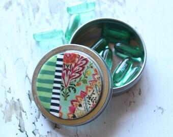 Cute pill box-cute pill organizer-travel pill case-metal pill box organizer-medicine containers-small trinket box-colorful vitamin holder