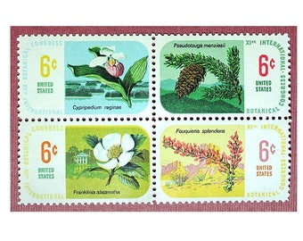 6c Botanical stamps .. Pack of 20 .. Vintage Unused US postage stamps .. Magnolia | Pinecone | Lady Slipper Orchid | Ocotillo Dessert Plant