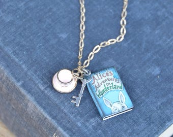 Alice in Wonderland book themed charm necklace. Classic literature, jewelry for the bookworm, child's necklace, girl's necklace