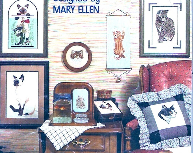 Cat lovers leaflet cross stitch patterns Just purrfect 80s Leisure Arts 453 Leaflet designed by Mary Ellen