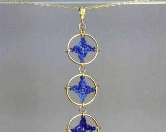 Spangles, blue silk necklace, 14K gold-filled