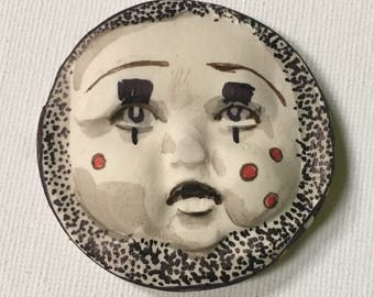 clay face Handmade  round mask tile jewelry craft supplies  handmade cabochon  girl woman mosaic tile
