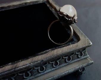 Rainbow Moonstone Ring Witchy Jewelry Witchy Ring Oxidized Silver Adjustable Ring Moonstone Jewelry