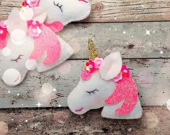 Unicorn Hair clip or hair tie,Handmade felt and glitter padded Unicorn, hair clips, unicorn hair tie, unicorn hair elastic, single, pairs
