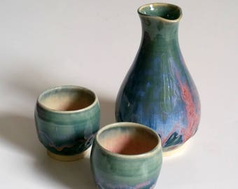 Sake Set with Two Cups in Teal, Green, Blue and Pink - Wheel Thrown Pottery