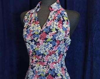 Vintage 1930s Rayon Floral Open Back Garden Party Dress -  Size Small